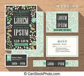 かわいい, セット, パステルパターン, 結婚式, デザイン, テンプレート, 招待, 花