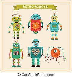 かわいい, セット, ロボット, 型, レトロ