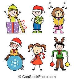 かわいい, セット, 休日, クリスマス, 子供