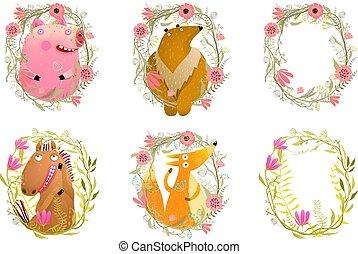 かわいい, セット, 動物, イラスト, フレーム, 植物