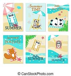 かわいい, セット, 動物, 取得, 残り, ベクトル, 浜, カード