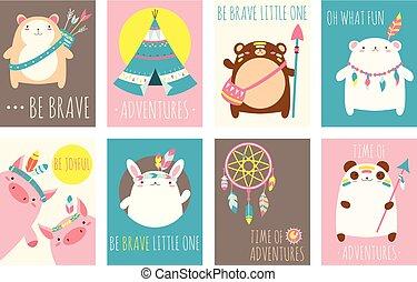 かわいい, セット, 動物, 種族, 森林地帯, ベクトル, カード