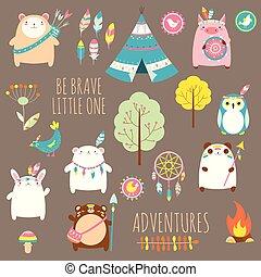 かわいい, セット, 動物, 種族, 森林地帯, ベクトル