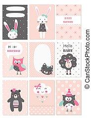 かわいい, セット, 動物, 赤ん坊, 花, カード, 要素