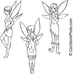 かわいい, セット, 妖精, アウトライン