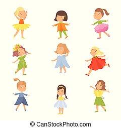 かわいい, セット, 子供, フラワー・ガール, 幸せ, 衣服