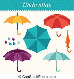 かわいい, セット, 平ら, 多色刷り, デザイン, style., 傘