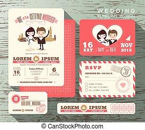 かわいい, セット, 恋人, 花婿, 花嫁, デザイン, テンプレート, 招待, 結婚式
