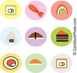 かわいい, セット, 料理, 寿司, 日本語, 回転しなさい