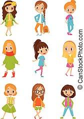 かわいい, セット, 流行, 女の子, ベクトル, 背景, イラスト, 白, 漫画, 衣服