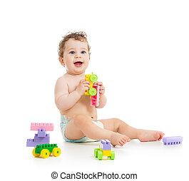 かわいい, セット, 男の子, 上に, 建設, 子供, 白, 遊び,  backgrou