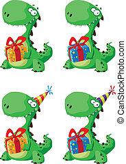 かわいい, セット, 贈り物, 恐竜