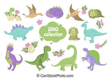かわいい, セット, 隔離された, white., 恐竜