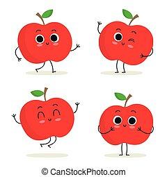 かわいい, セット, apple., 特徴, 隔離された, フルーツ, 白