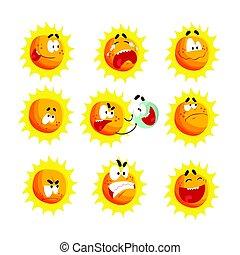 かわいい, セット, emoticons., カラフルである, 太陽の表面, ベクトル, 様々, 特徴, イラスト, 感情的, 漫画