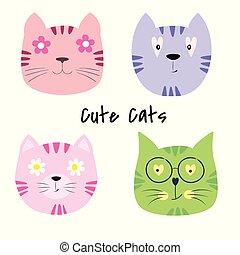 かわいい, セット, illustration., ベクトル, ネコ, 漫画
