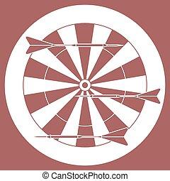 かわいい, ターゲット, 矢, theme., イラスト, スポーツ, ベクトル, darts.