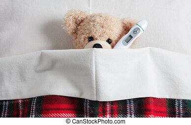 かわいい, テディ, flue., 毛布, 寒い, 暖かい, 温度計, 熱, カバーされた, ベッド