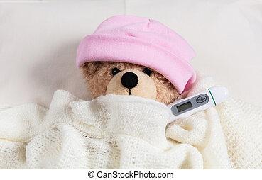 かわいい, テディ, flue., 毛布, 寒い, 暖かい, 温度計, 熱, カバーされた, 女の子, ベッド