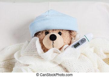 かわいい, テディ, flue., 毛布, 男の子, ベッド, 暖かい, 温度計, 熱, カバーされた, 寒い