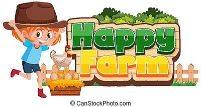 かわいい, デザイン, 農場, 女の子, 壷, 幸せ, 鶏