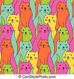 かわいい, ネコ, いたずら書き, カラフルである, パターン