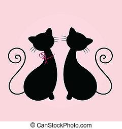 かわいい, ネコ, 恋人, 一緒に座る, シルエット, 隔離された, 上に, ピンク