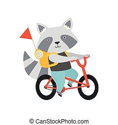 かわいい, バックパック, 動物, 夏, 特徴, 休暇, 自転車, 漫画, 朗らかである, ベクトル, イラスト, 背景, アライグマ, 乗馬, 白, 旅行する