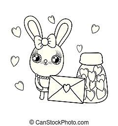 かわいい, バレンタイン, 封筒, うさぎ, 女の子, 日