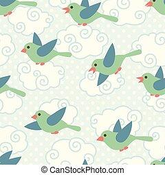 かわいい, パターン, 空, seamless, 漫画, 鳥