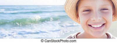 かわいい, パノラマ, リゾート, 海, 感情的, 微笑, 幸せ, バックライト, 子供