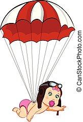 かわいい, パラシュート, 女の赤ん坊, 帽子, 漫画, パイロット