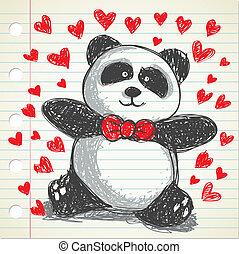 かわいい, パンダ, いたずら書き