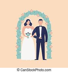 かわいい, パーティー。, 地位, arch., 隔離された, 新婚者, バックグラウンド。, 愛らしい, 幸せ, 平ら, カラフルである, 恋人, 式, 結婚式, 花, 漫画, 祝福, illustration., ライト, 花婿, に対して, 花嫁, ベクトル