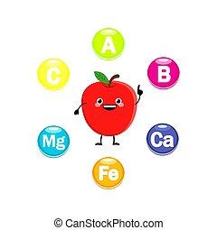 かわいい, ビタミン, シンボル, ベクトル, 特徴, illust, 漫画, アップル