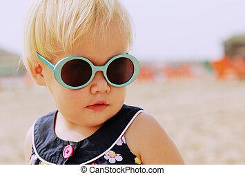 かわいい, ファッション, 古い, 型, 1, 年, 肖像画, 赤ん坊, サングラス
