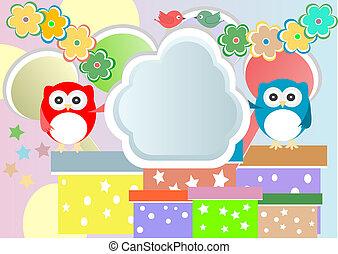 かわいい, フクロウ, birthday, ベクトル, パーティー, 鳥, カード