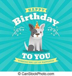 かわいい, ブルドッグ, birthday, デザイン, 漫画, カード