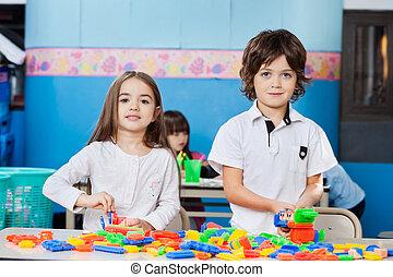 かわいい, ブロック, 幼稚園, 机, 友人, 遊び