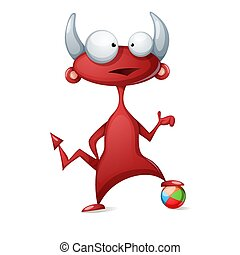 かわいい, プレーしなさい, 悪魔, illustration., 面白い, -, フットボール, サッカー, 漫画