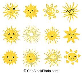 かわいい, ベクトル, セット, の, 太陽, icons.