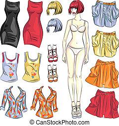 かわいい, ベクトル, 人形, の上, ペーパー, 服
