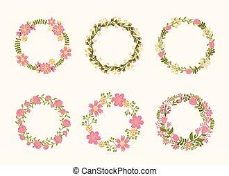 かわいい, ベクトル, 花輪, フレーム, ∥ために∥, 結婚式の招待