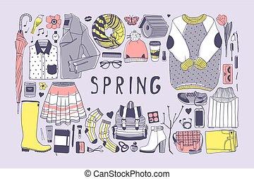 かわいい, ベクトル, 芸術, work., drawing., 春, doddle, イラスト, 手, バックグラウンド。, オブジェクト, 芸術的, インク, 引かれる, pattern., ファッション, 創造的, 季節