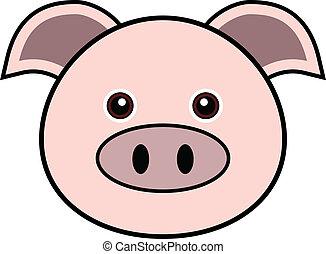 かわいい, ベクトル, 豚