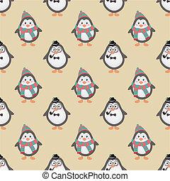 かわいい, ペンギン, 情報通, seamless, 背景