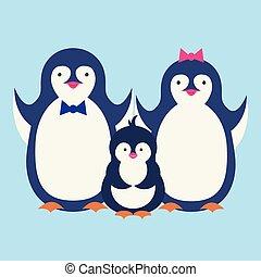 かわいい, ペンギン, illustration., 特徴, 隔離された, penguin., ベクトル, 幸せ, 漫画, design.