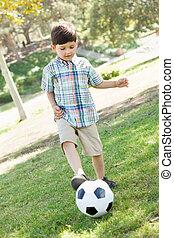 かわいい, ボールボーイ, 若い, park., 屋外で, サッカー, 遊び
