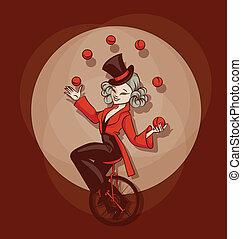 かわいい, ボール, aquilibrist, ジャッグルする, pinup, 漫画