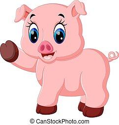 かわいい, ポーズを取る, 漫画, 豚